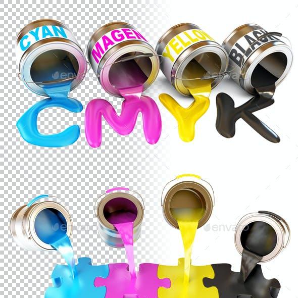 Bottles of ink in cmyk colors. 3d render.