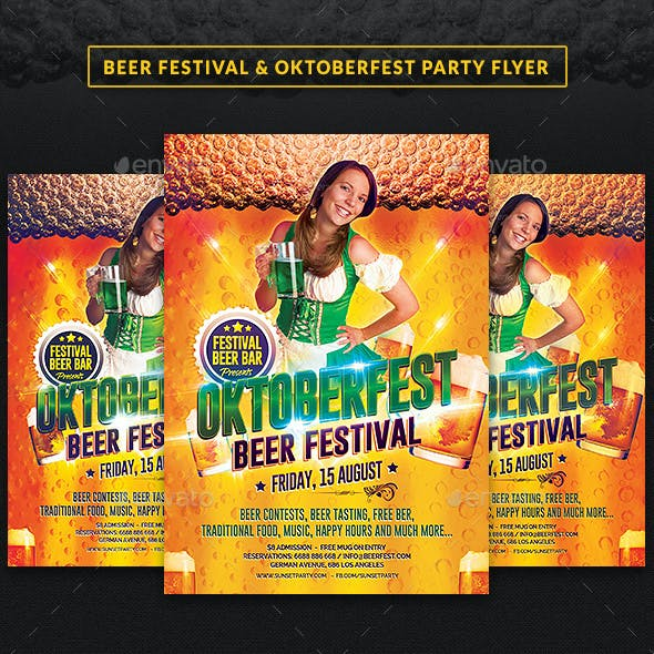 Beer Festival & Oktoberfest Party Flyer