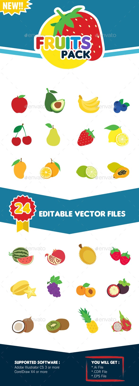 Vector Fruits Pack - Organic Objects Objects