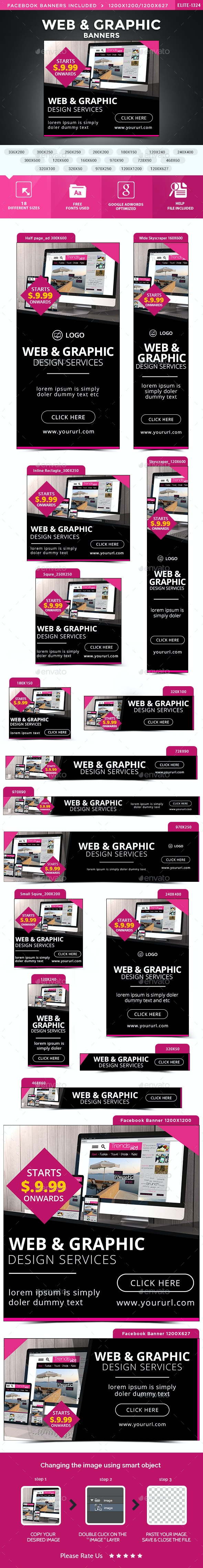 Web & Graphic Banners - Banners & Ads Web Elements