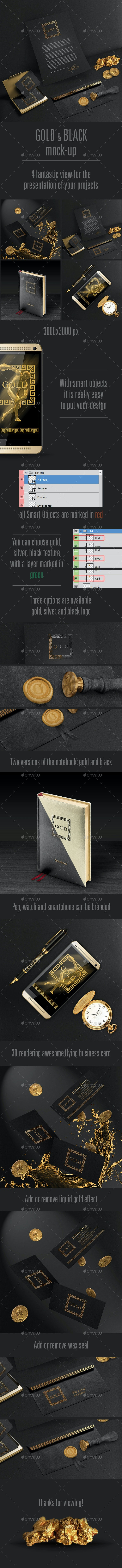 Gold and Black Stationary / Branding Mock-Up - Stationery Print