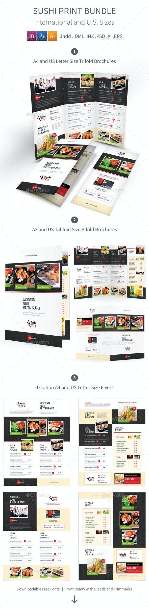 Sushi Menu Print Bundle 2 - Food Menus Print Templates