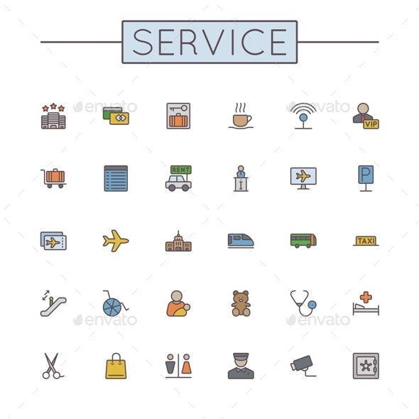 Vector Colored Service Line Icons - Business Icons