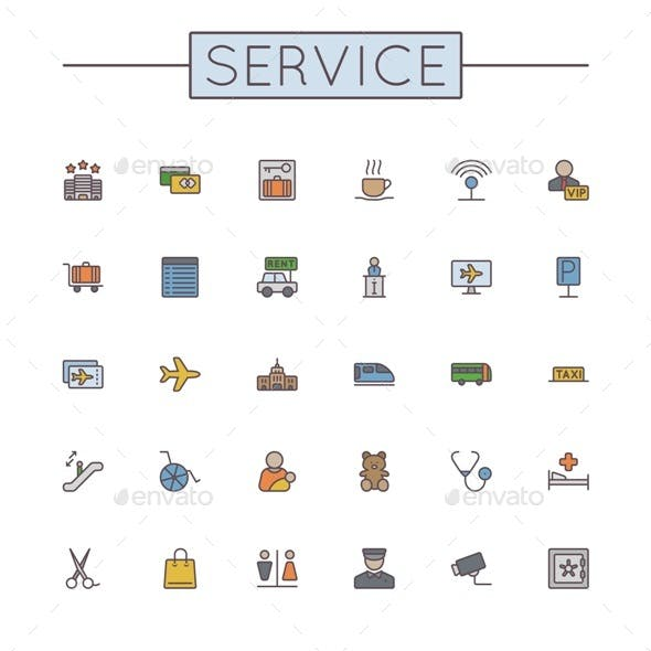 Vector Colored Service Line Icons