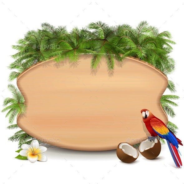 Vector Tropic Wooden Board - Travel Conceptual