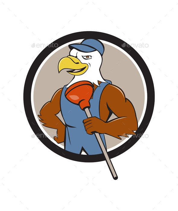 Bald Eagle Plumber Plunger Circle Cartoon - Animals Characters