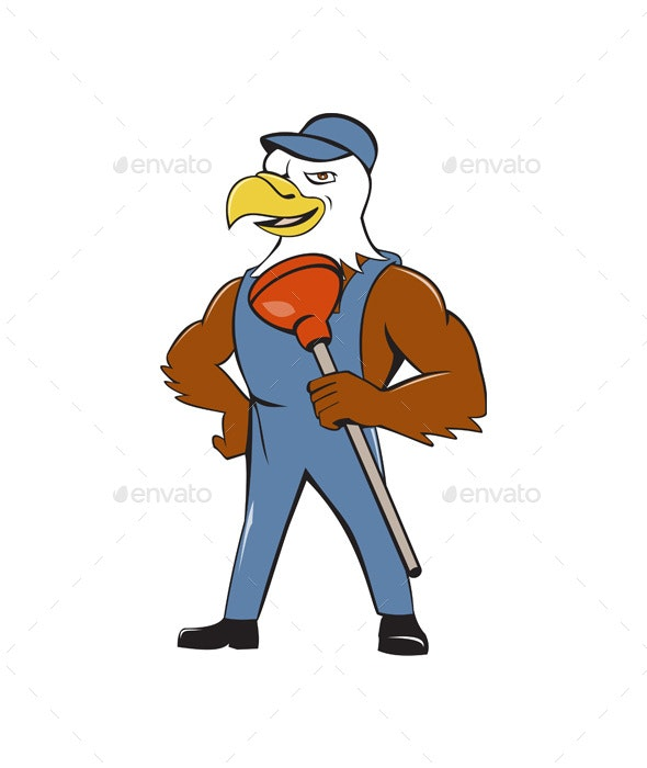 Bald Eagle Plumber Plunger Isolated Cartoon - Animals Characters
