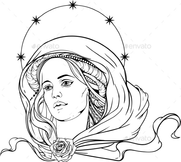 Woman Wearing Shawl and Nimb of Stars - Tattoos Vectors