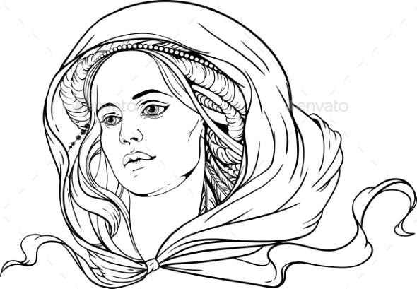 Woman Wearing Shawl - Tattoos Vectors
