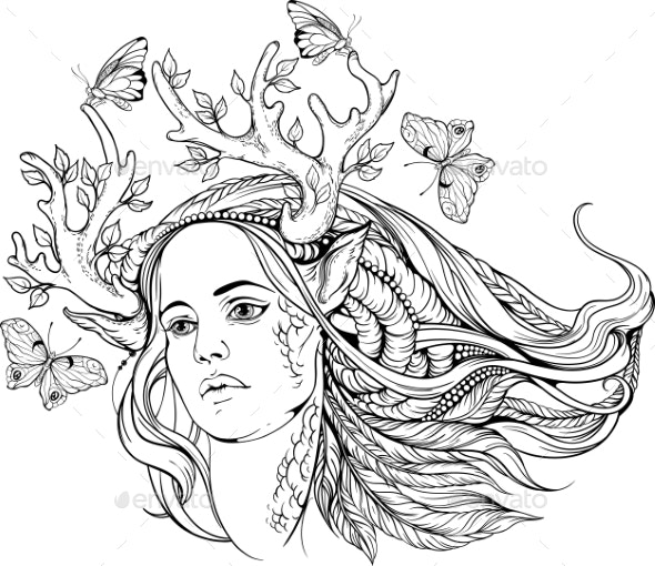 Woman with Animal Horns and Butterflies - Tattoos Vectors