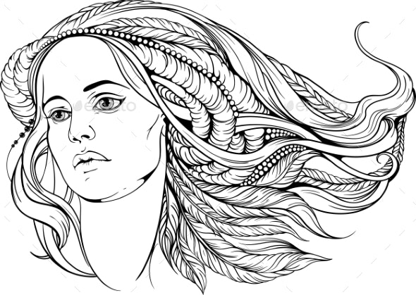 Woman with Hippie-Style Hair - Tattoos Vectors