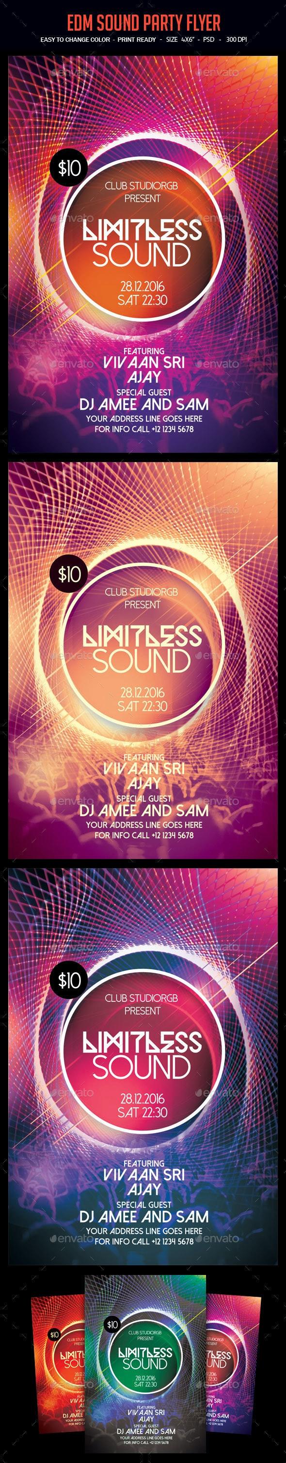 EDM Sound Party Flyer - Clubs & Parties Events