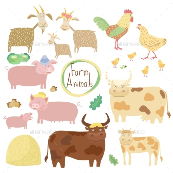 Farm Animals Set on White Background - Animals Characters