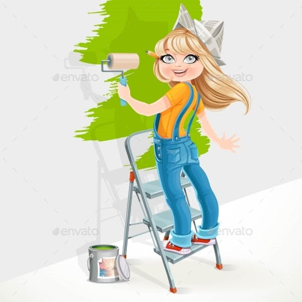 Girl in Overalls Standing on a Stepladder