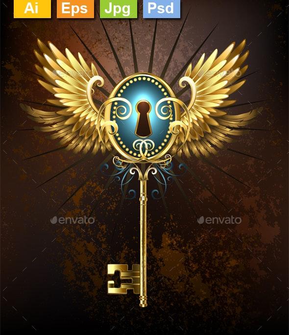 Key with Golden Wings - Decorative Symbols Decorative