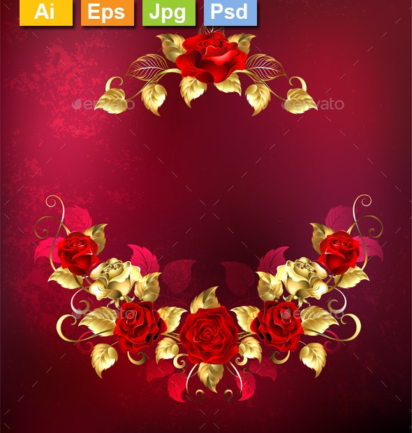 Symmetrical Garland of Gold and Red Roses - Borders Decorative