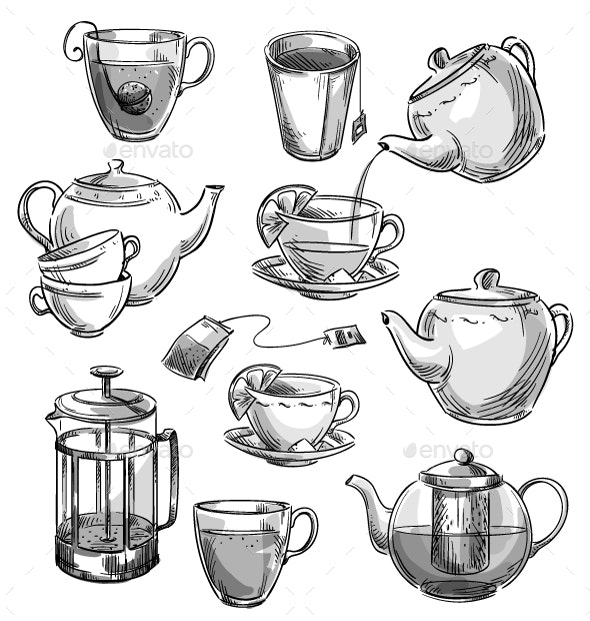 Set of Tea Cups and Teapots - Food Objects
