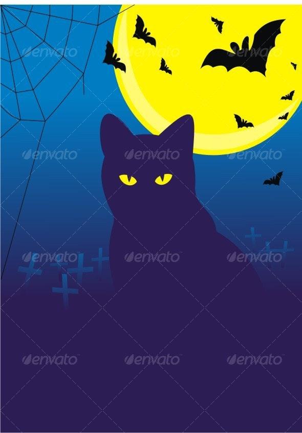 Halloween. Cat and bats on cemetery under the moon - Halloween Seasons/Holidays
