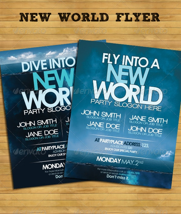 New World Flyer Template - Clubs & Parties Events