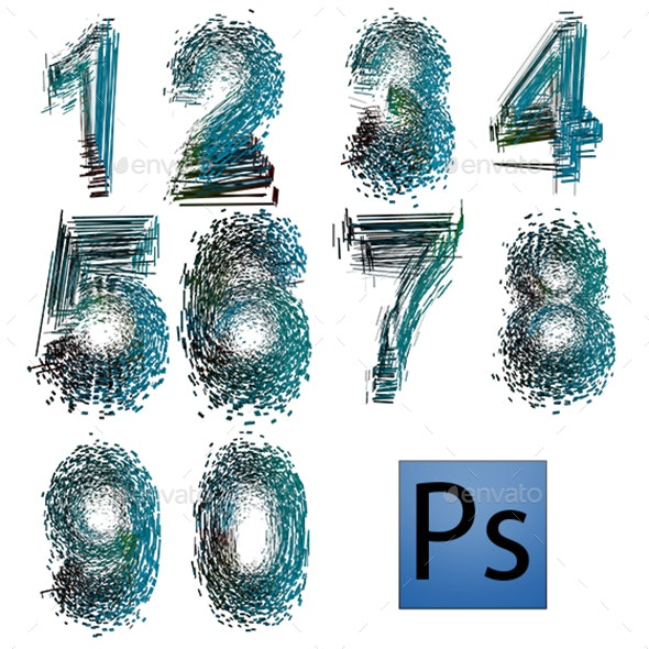 Abstract Numbers - Text 3D Renders