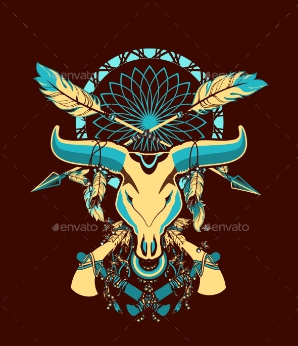 Bull Skull Tattoo - Tattoos Vectors