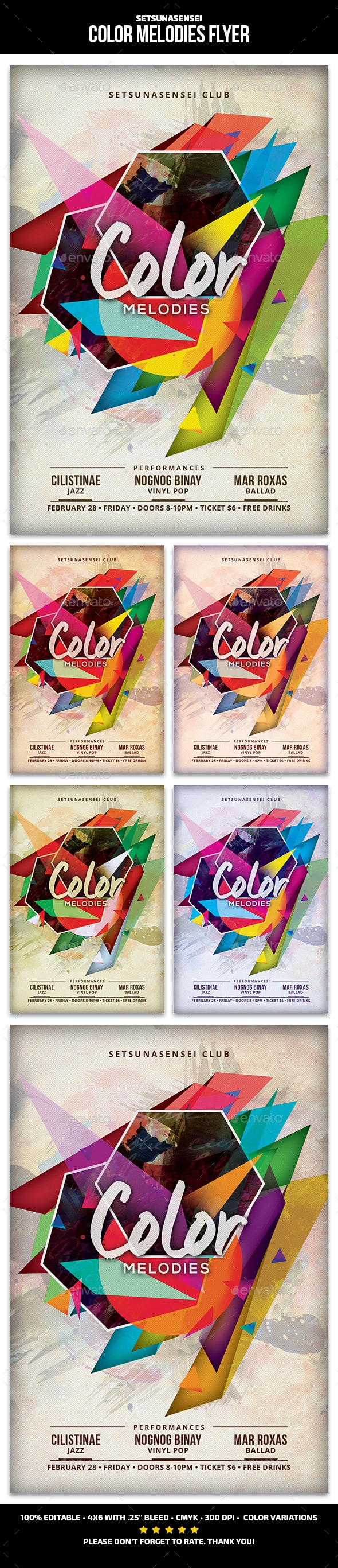 Color Melodies Flyer - Clubs & Parties Events
