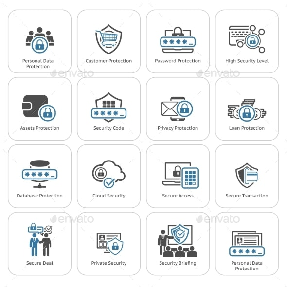 Flat Design Protection And Security Icons Set. - Business Icons