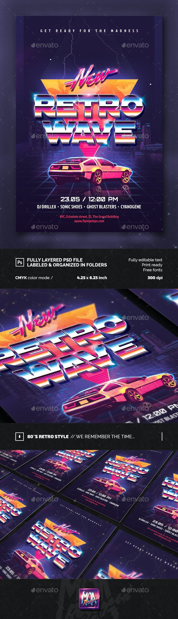80`s New Retro Wave Party flyer - Clubs & Parties Events