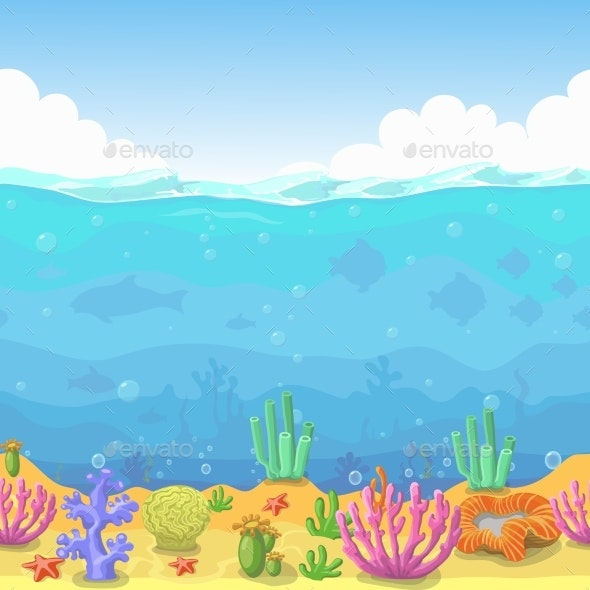 Seamless Underwater Landscape in Cartoon Style - Landscapes Nature