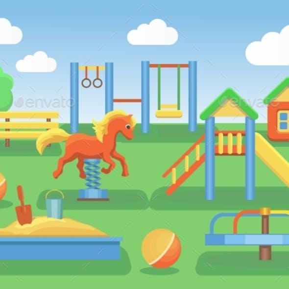 Kids Playground Flat Concept Background