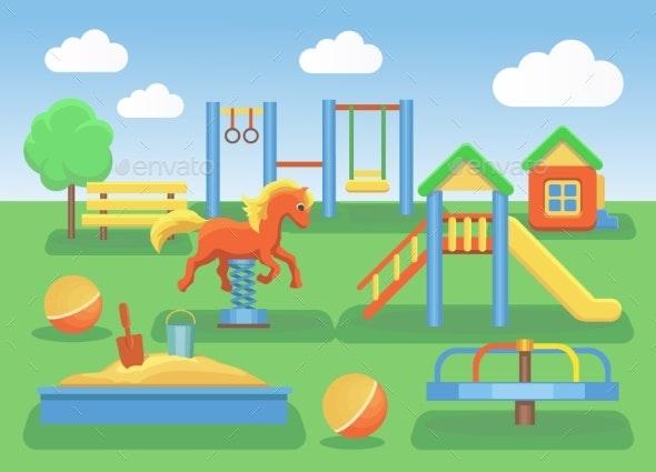 Kids Playground Flat Concept Background - Landscapes Nature