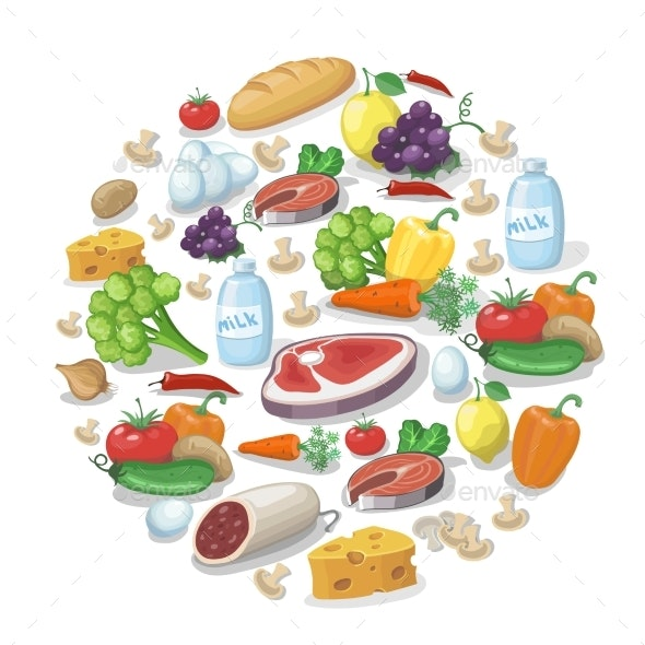 Common Everyday Food Products Background - Food Objects