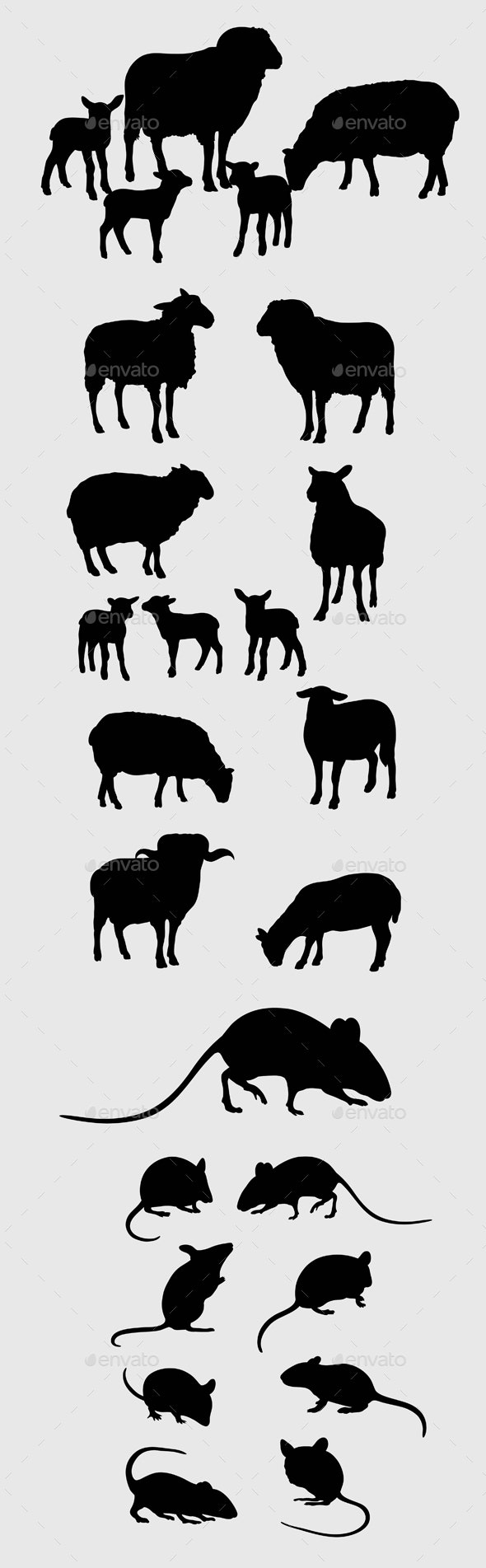 Sheep and Mouse Silhouettes - Animals Characters