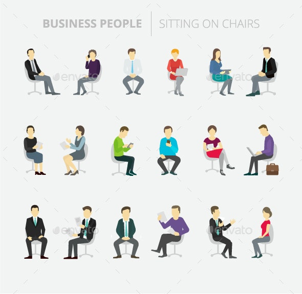 People Set Work Sitting on Chairs - People Characters
