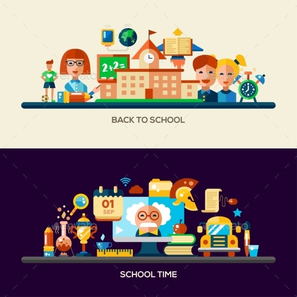 Education Website Header Banner with Webdesign - Miscellaneous Vectors