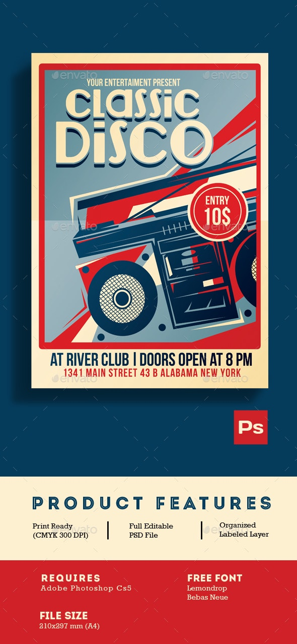 Classic Disco Radio Flyer Poster - Clubs & Parties Events