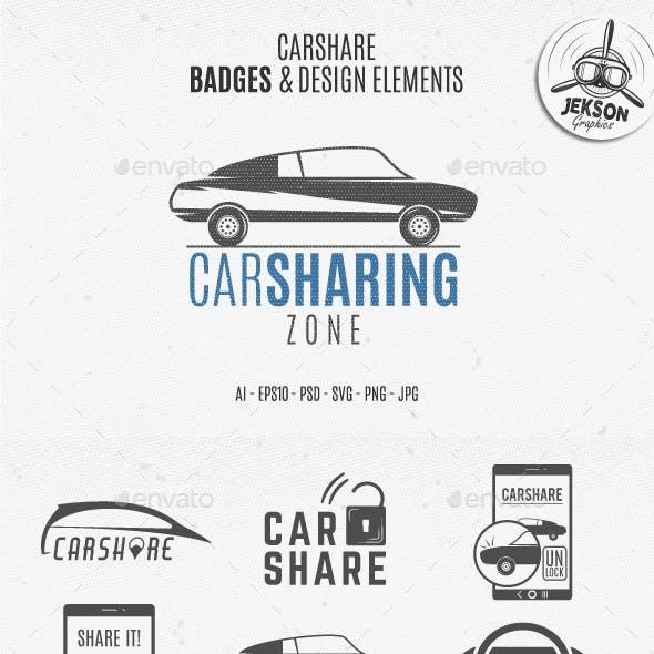 Car Sharing Badges & Elements