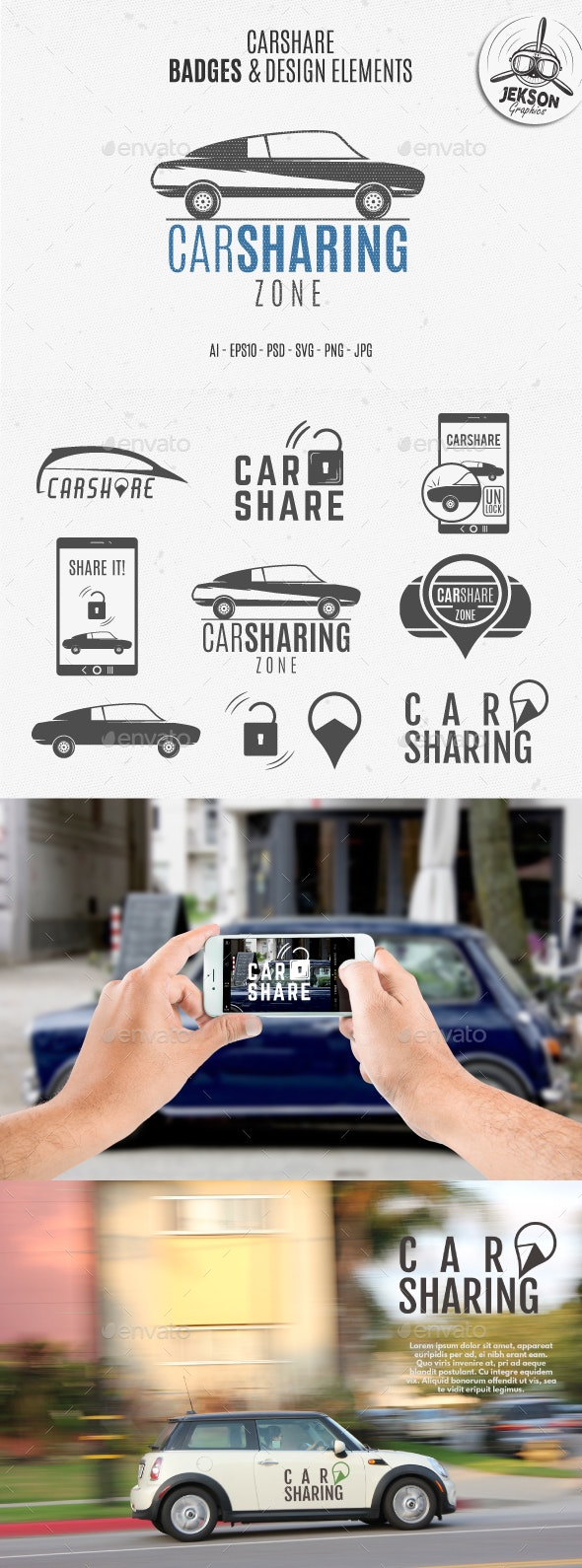 Car Sharing Badges & Elements - Badges & Stickers Web Elements