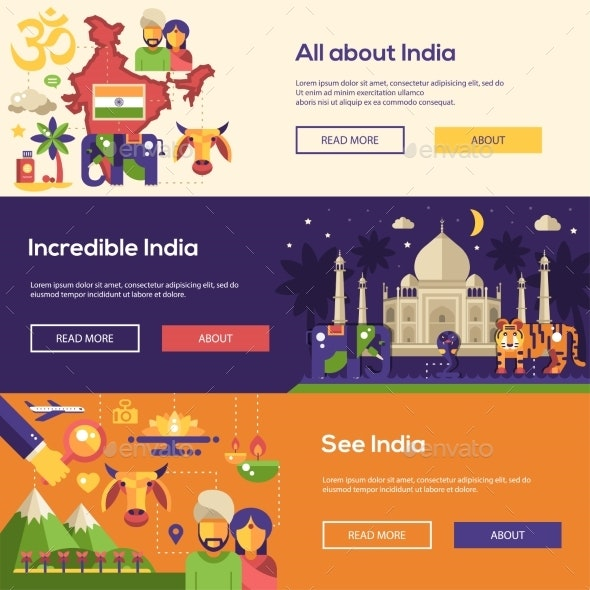 Traveling to India Website Headers Banners Set - Travel Conceptual