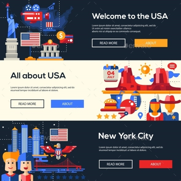 Traveling to the USA Website Headers Banners Set - Travel Conceptual
