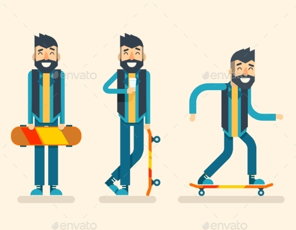 Scater Adult Man Geek Happy Hipster Character - People Characters