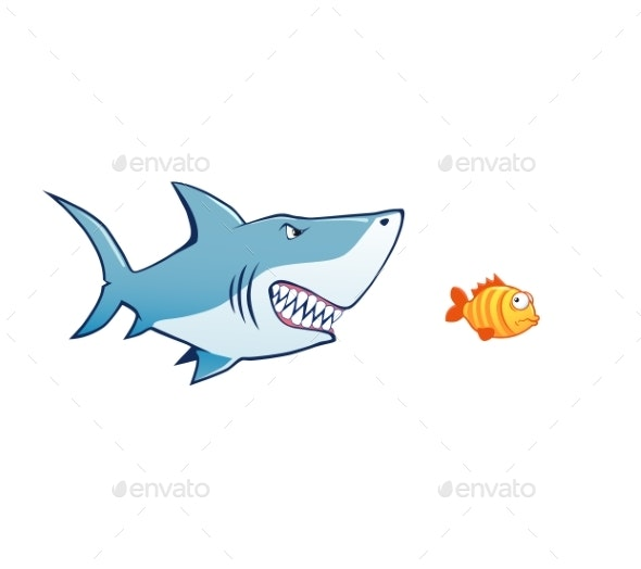 Shark Attak Tiny Fish Vector Illustration - Animals Characters