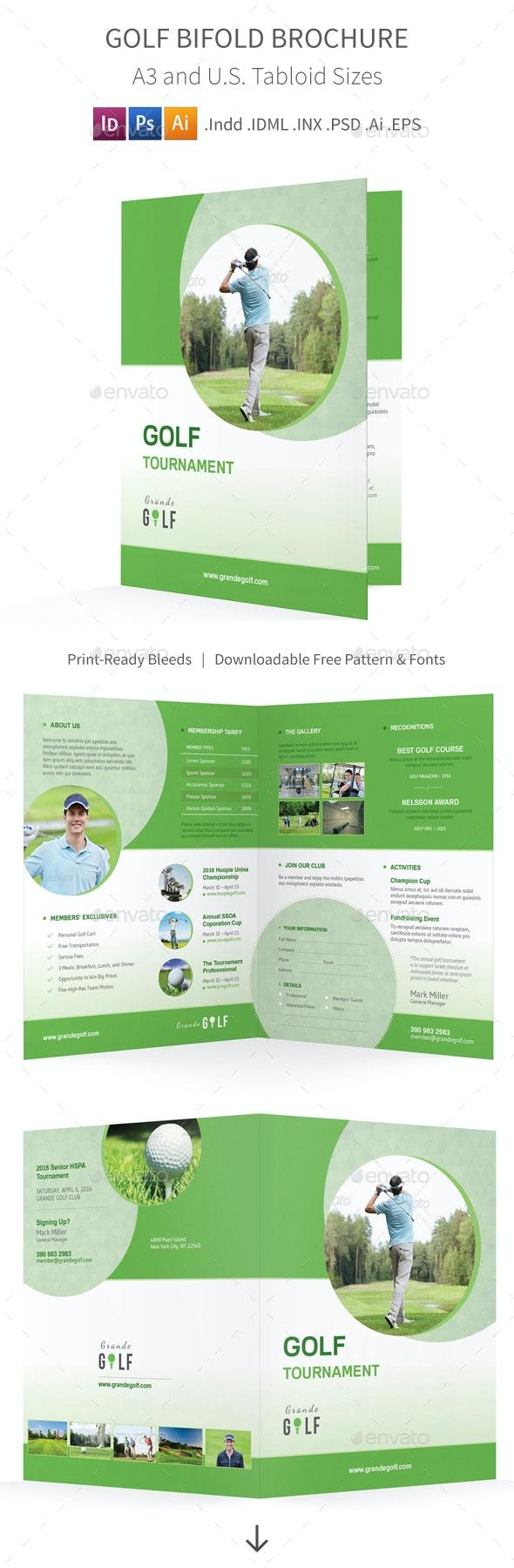 Golf Tournament Bifold / Halffold Brochure 3 - Informational Brochures