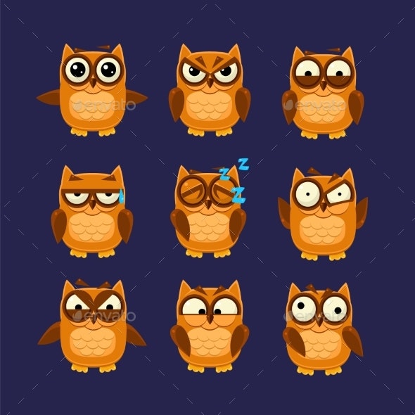 Brown Owl Emoji Collection - Animals Characters