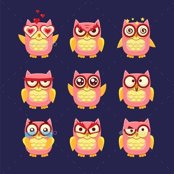 Pink Owl Emoji Collection