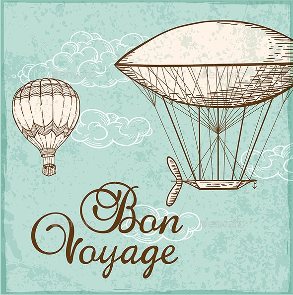 Vintage Background with Air Balloons - Travel Conceptual