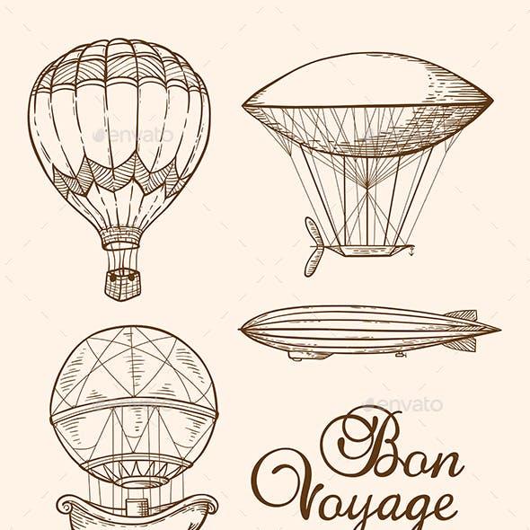 Set of Vintage Air Balloons
