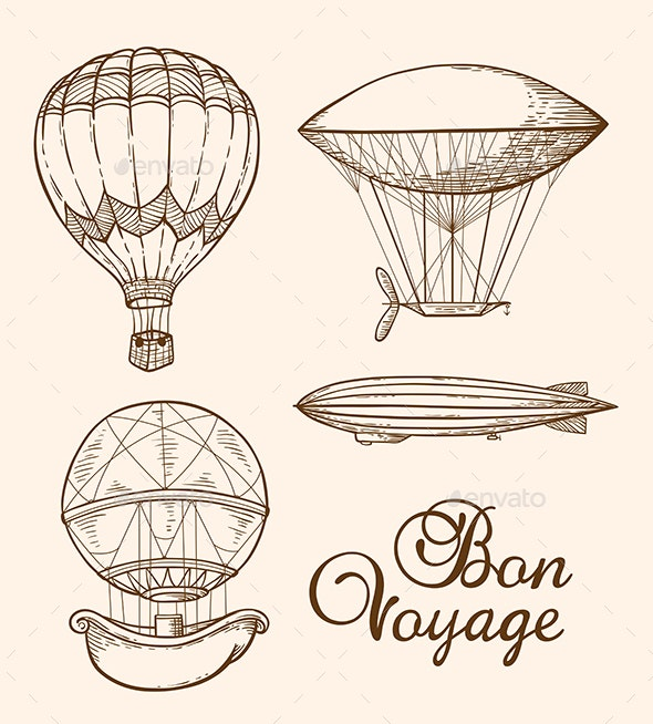 Set of Vintage Air Balloons - Retro Technology