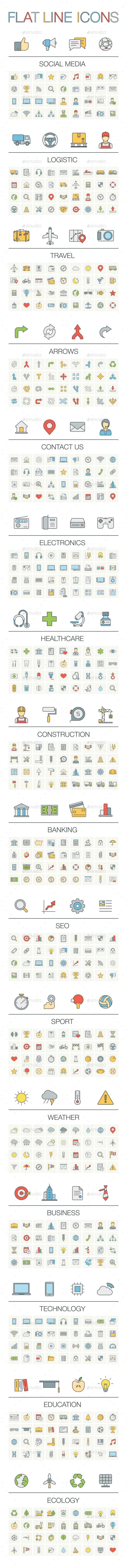 Vector Illustration Of Thin Line Color Icons - Web Technology