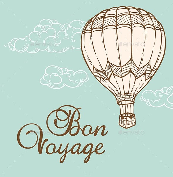 Vintage Background with Air Balloon - Travel Conceptual